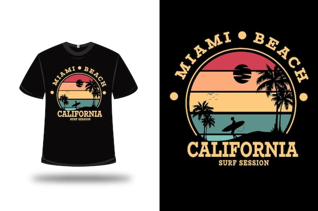 T-shirt miami beach california surf session color red yellow and green