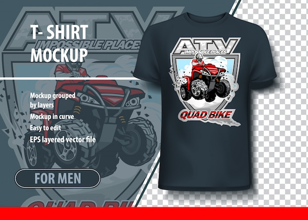 T-shirt mock-up template with atv impossible places. editable vector layout.