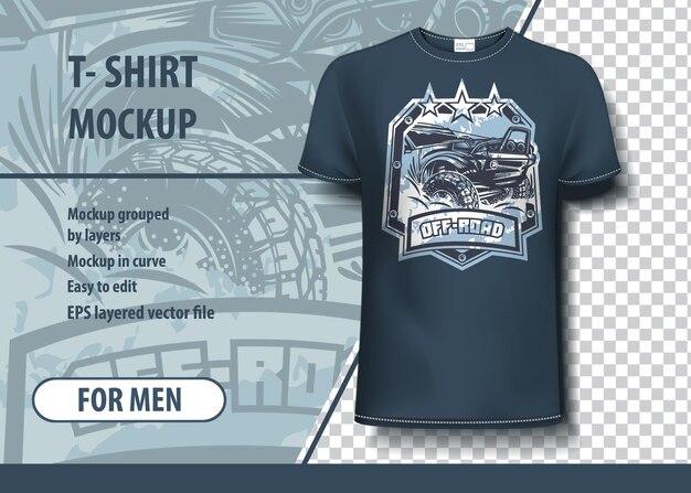 오프로드, suv 로고가 있는 티셔츠 모형 템플릿. 편집 가능한 벡터 레이아웃입니다.
