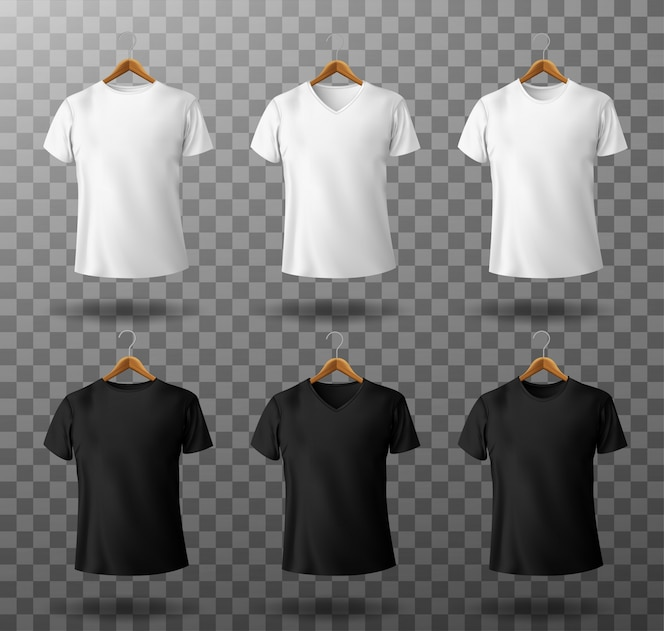 T-shirt mockup black and white male t shirt with short sleeves on wooden hangers template front view.