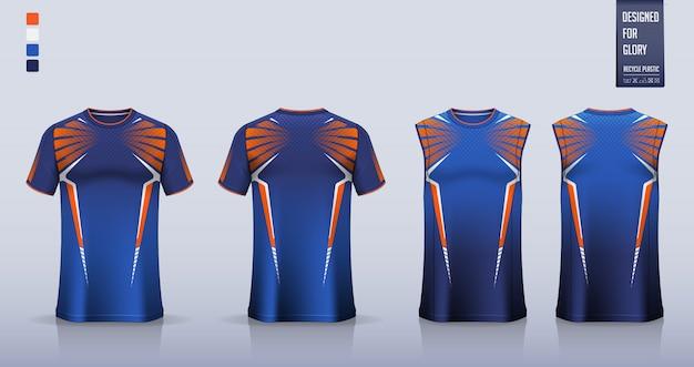 T恤模型,足球运动衫的运动衫模板设计