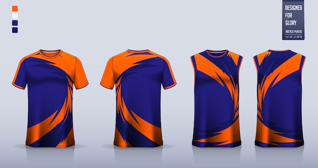 T-shirt mockup, sport shirt template design for soccer jersey