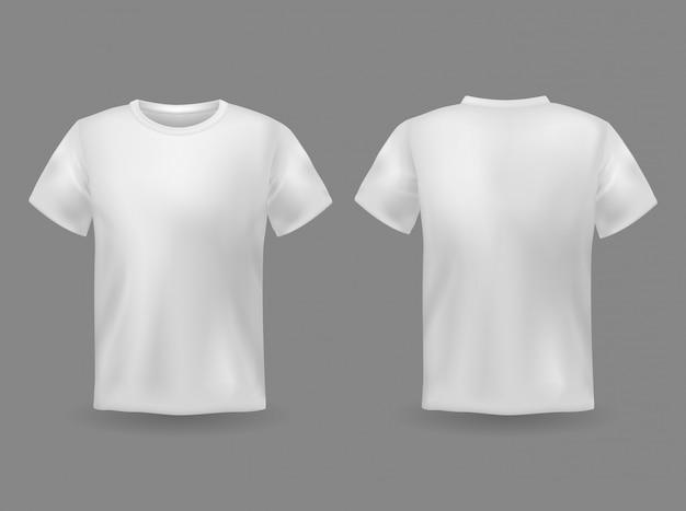 Tシャツのモックアップ。白い空白のtシャツの前面と背面は、現実的なスポーツ服のユニフォームを表示します。女性と男性の服のテンプレート