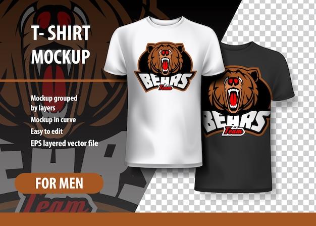 두 가지 색상의 곰과 함께 티셔츠 이랑