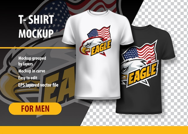 T-shirt mockup с орлиной головкой и флагом, полностью редактируемый.