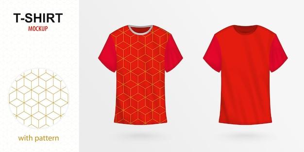 パターン付きtシャツモックアップ、赤のベクトルtシャツの2つのバージョン。ベクトルテンプレート。