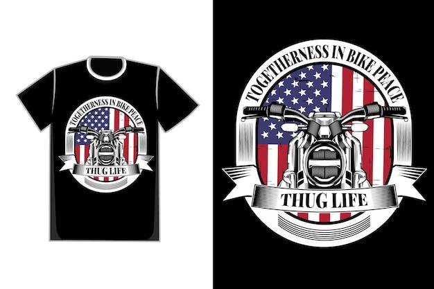 T-shirt motorbike silhouette flag american vintage