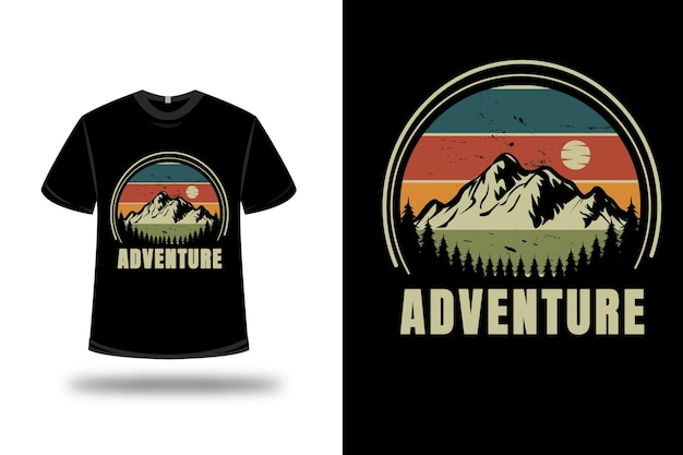 T-shirt mountain adventure color green and orange