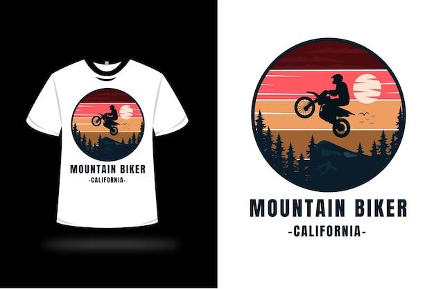 T 셔츠 마운틴 바이커 캘리포니아 컬러 레드 오렌지 옐로우와 다크 블루