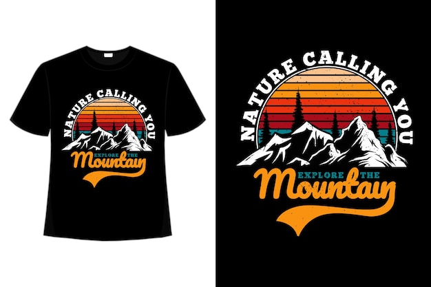 티셔츠 산 탐험 자연 소나무 복고풍 스타일