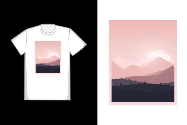 티셔츠 산과 소나무 언덕은 회색과 검정색