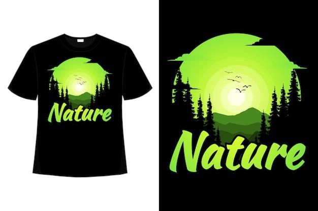 T-셔츠 자연 숲 산 풍경 플랫 다래끼 빈티지 일러스트