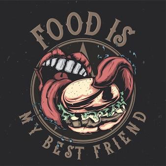 大きなハンバーガーを食べる大きな口のイラストを描いたtシャツやポスターのデザイン