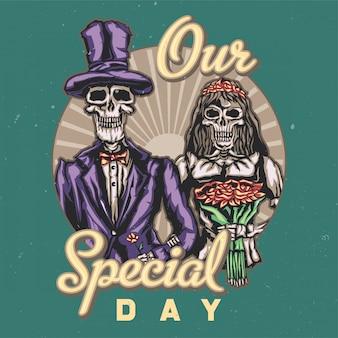 Дизайн футболки или плаката с изображением мертвых жениха и невесты