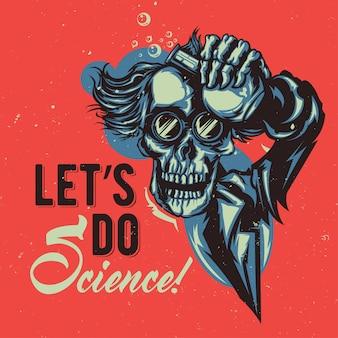 Дизайн футболки или плаката с изображением профессора-скелета
