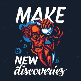 해골 교수의 삽화가있는 티셔츠 또는 포스터 디자인