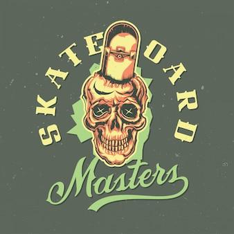 스케이트 보드와 두개골의 illustraion와 티셔츠 또는 포스터 디자인