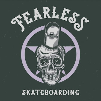 Дизайн футболки или плаката с изображением черепа со скейтбордом