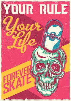 スケートボードで頭蓋骨のイラストを描いたtシャツやポスターのデザイン