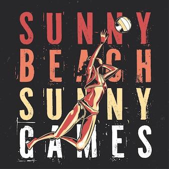 Дизайн футболки или плаката с иллюстрированной девушкой, играющей в пляжный волейбол.