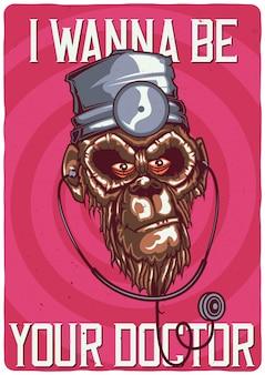 Дизайн футболки или плаката с иллюстрацией обезьяны-доктора.