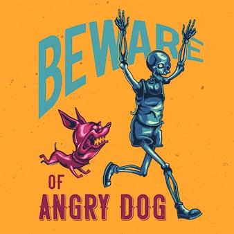 Дизайн футболки или плаката с изображением бегущего скелета.