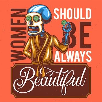 マスク付きのスケルトンのイラストを使用したtシャツまたはポスターのデザイン。