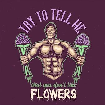 꽃과 스포츠맨의 일러스트와 함께 티셔츠 또는 포스터 디자인.