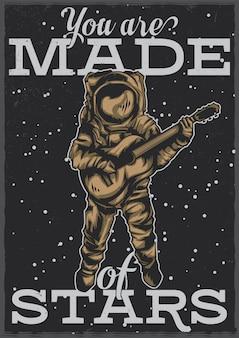 ギターを持つ宇宙飛行士のイラストを使用したtシャツやポスターのデザイン