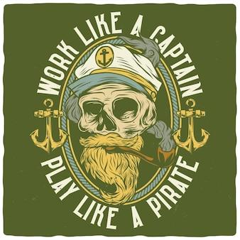 죽은 선장의 삽화가 있는 티셔츠 또는 포스터 디자인