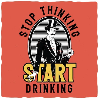 ウイスキーと葉巻のガラスと紳士のイラストとtシャツまたはポスターのデザイン