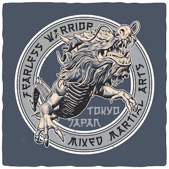 Дизайн футболки или плаката с изображением японского дракона