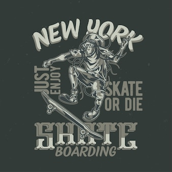 スケートボードに男のイラストが描かれたtシャツやポスターのデザイン。手描きイラスト。