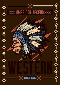 帽子をかぶったネイティブアメリカンのイラストが描かれたtシャツやポスターのデザイン。