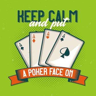 카드 놀이의 일러스트와 함께 티셔츠 또는 포스터 디자인.