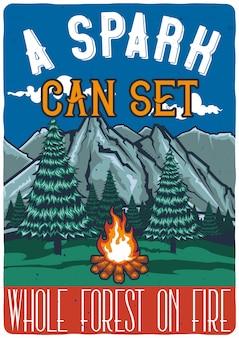 森と火のイラストを使用したtシャツやポスターのデザイン。