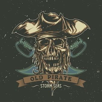 모자에 삽화가 죽은 해적과 티셔츠 또는 포스터.