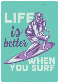 서핑 보드에 뚱뚱한 남자의 일러스트와 함께 티셔츠 또는 포스터
