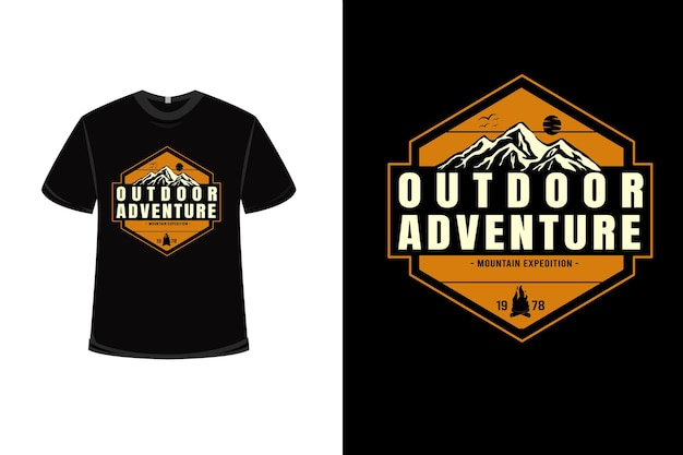 T-shirt outdoor adventure mountain expedition color yellow and cream