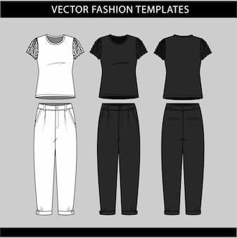T shirt and pant  front and back view ,fashion flat sketch template,casual outfit