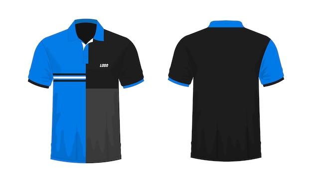 Футболка поло синий и черный шаблон для дизайна на белом фоне. векторная иллюстрация eps 10.
