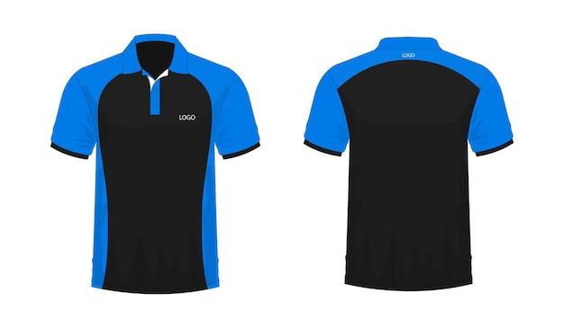 Tシャツポロ青と黒のテンプレート