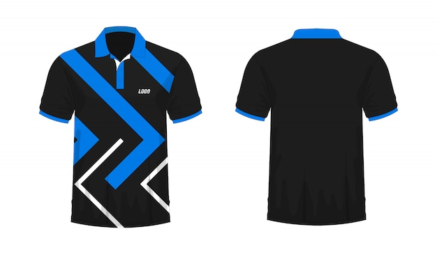 T-shirt polo blue and black t illustration