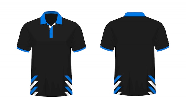 T-shirt polo blue and black template for design on white background.