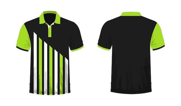 白地にデザインするためのtシャツポロ緑と黒のテンプレート。ベクトルイラストeps10。 Premiumベクター