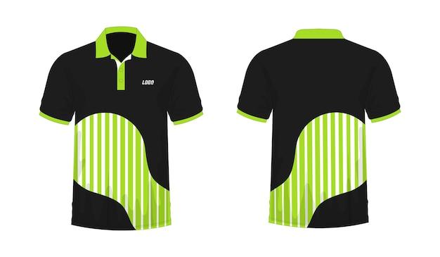 Футболка поло зеленый и черный шаблон для дизайна на белом фоне. векторная иллюстрация eps 10.