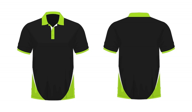 白い背景のデザインのtシャツポロ緑と黒のテンプレート。