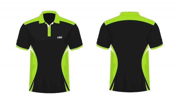 흰색 배경에 디자인 티셔츠 폴로 녹색과 검은 색 템플릿.