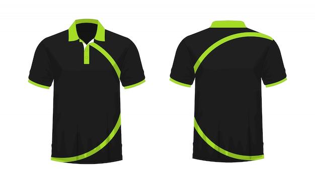 Футболка поло зеленый и черный шаблон для дизайна на белом фоне.