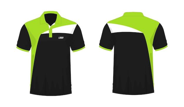 Tシャツポロ緑と黒のテンプレート